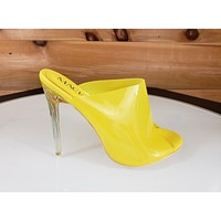 "Mac J Opaque Yellow Open Toe Slip On Mule Clog 4.5"" High Heel"