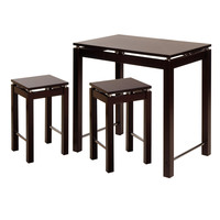Attractive Customary Styled 3pc Pub Kitchen Set with Island Table and 2 Stools by Winsome Woods