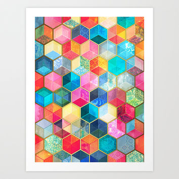 Crystal Bohemian Honeycomb Cubes - colorful hexagon pattern  Art Print by micklyn