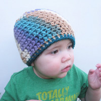 Girls Crochet Beanie Hat in lavender, turquoise, caramel, and cream, infants 9-12 months, ready to ship.