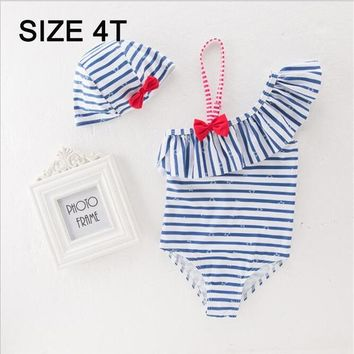 Childrens Swimsuit Cute kids swimwear Bow Stripe Lotus Leaf Baby sling  Baby Girl One Piece children's clothing hat 2-6yrs KO_25_2