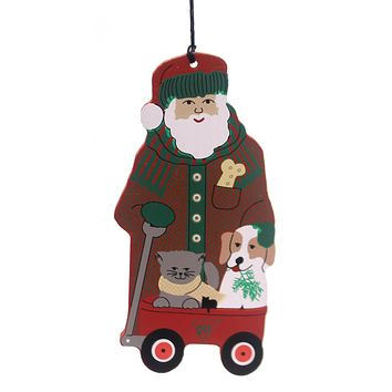 Cats Meow Village Little Red Wagon Santa Keepsake