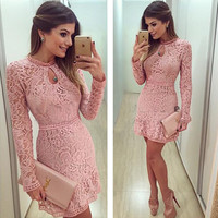 Fashion Pink Lace Dress 2017 Spring Summer Women's Sexy Party Dresses Night Club Dress Long Sleeve Brasil Vestidos