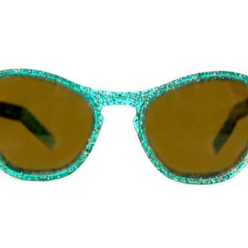 50s Turquoise Cat Eye Sunglasses Silver Glitter Glamour Girl Chic 1950s Vintage