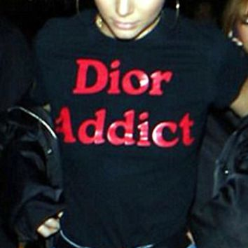 Fashion black Dior short sleeve T-shirt top