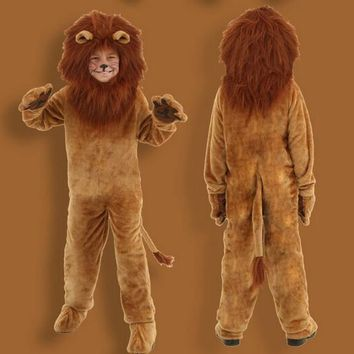 2016 Superior quality Deluxe Wizard of Oz Kids Animal Halloween Cosplay Fancy Dress Dinosaur Lion Costume Parent child clothing