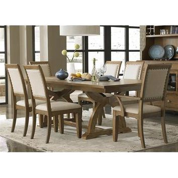 Liberty Furniture Town & Country 7 Piece Trestle Table Set in Distressed Sandstone w White