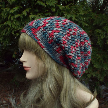 Red and Gray Slouch Beanie, Womens Slouchy Crochet Hat, Oversized Slouchy Beanie, Chunky Hat, Baggy Beanie, Winter Slouchy Hat