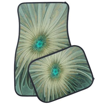 Modern Abstract Fantasy Flower Turquoise Wheat Car Mat