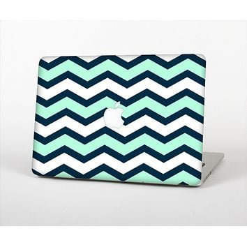 The Teal & Blue Wide Chevron Pattern Skin Set for the Apple MacBook Air 11""