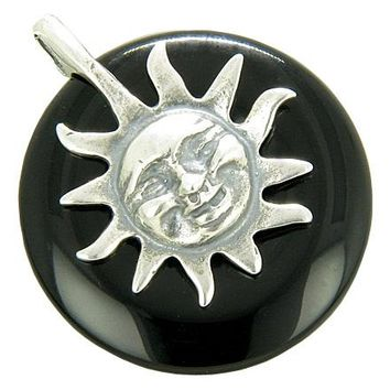 Positive Energy Happy Sun Spiritual Amulet Black Onyx Pendant