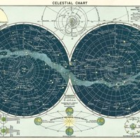 Celestial Chart Map - Vintage style  Poster Cavallini & Co 20 x 28 Wrap