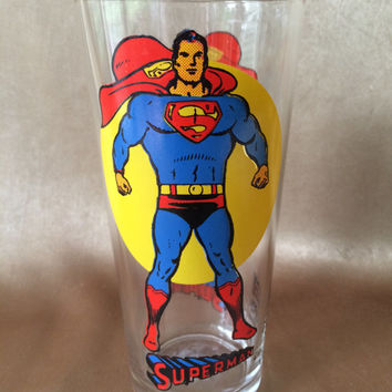 Superman Glass, 1976 Pepsi Glass, Super Series Glass, Cartoon Character, Vintage Superman, Comic Nerd Gift, Collectible Glass Marvel Comics