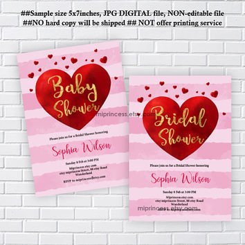 Love hearts invitaiton, Valentine invitation, bridal shower or baby shower, wedding invitaiton, any party, feburary party  - card 1202