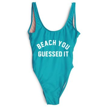 "Letters""beach you guessed it"" print blue swimwear  one  piece bikini show thin"