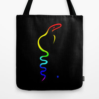 Gay Dancing Cobra Tote Bag by Gréta Thórsdóttir  #gay #cheerful #colorful #showy #rainbow #minimalism #snake #serpent,