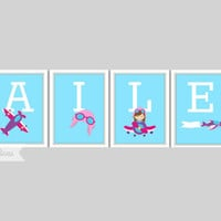 Airplane Print  - Personalized Name Print, Girl's Room Decor, Playroom, Airplane Nursery, Pilot Decor, Plane Print, Individual 4x6 or 5x7