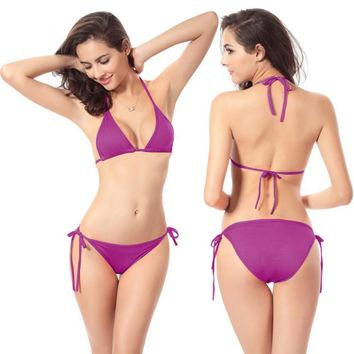 Women Sexy Brazilian Bikini Beachwear Swimsuit Costume Set Swimming Bath Top Triangle Bra Slip Swim Bottoms Beach Wear Hot
