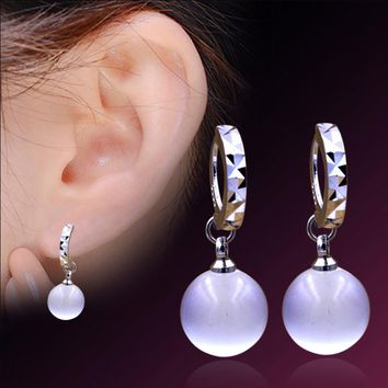 Fashion Women White moonstone Opal pendant 925 Sterling Silver stud Earrings girl Ear Jewelry Mirror earring for women Wholesale