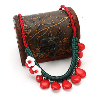 Chinese Red Turquoise Stone Shell Flower Necklace Women Jewelry