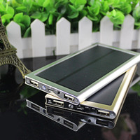 NEW Ultra-thin Solar Power Bank 12000mah Dual USB External Battery solar charger powerbank for smart phone