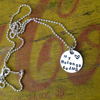 Necklace Custom Initials Name Tag Girlfriend. Boyfriend Silver Sports Number.  Football Baseball Hockey Basketball.  My heart belongs to