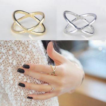Hot Korean X Cross-dimensional Hollow-out Finger Ring 2 Colors Charming Jewelry