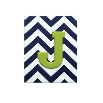 Upholstered Wood Wall Letters / Navy Blue and White Chevron Citrus Lime Green Name / Baby Boy Navy Blue Nursery Decor / Premier Prints