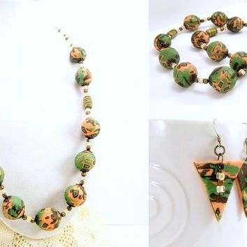 Peach Olive and Dark Brown Polymer Clay Necklace, Handmade Beads