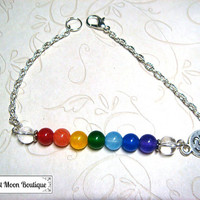 Chakra Bar Bracelet Ohm Gemstone Jewelry Pagan Spiritual Metaphysical Chakra Bracelet Simple Jewelry Rainbow Handfasting Wiccan Unisex