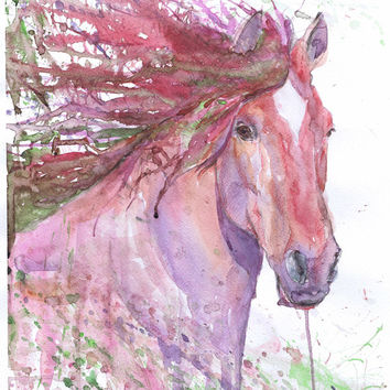 Horse Painting Equine Art Watercolor Print Equestrian Gifts Abstract Horse, Equine Expressions Horse lover Decor Horse Wall art Drawing Red