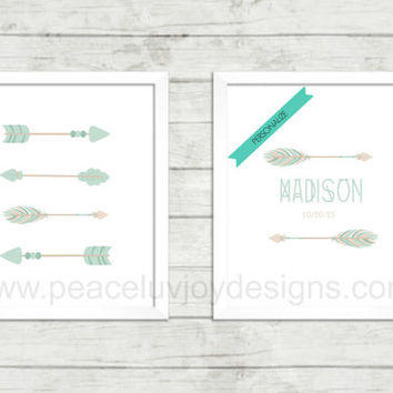 Personalized Wall Art, Girl's Nursery Printable, Tribal Arrow Duo, Boho Wall Art,  Table Top, Custom Nursery, Custom Wall Print, Custom Art