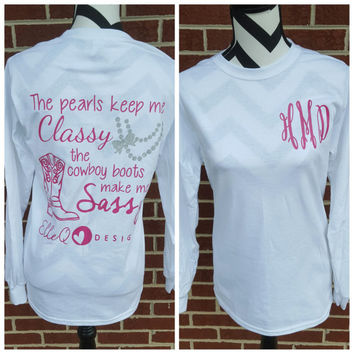 Monogrammed Pearls and Cowboy Boots Long Sleeve Shirt. Pearls. Cowboy Boots. Monogram Shirt. Southern Shirt. Southern Sayings. Monograms.