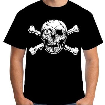 Mens T Shirt Skull & Crossbones Pirate Goth Horror Zombie Biker Casual Short Sleeve