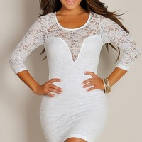 Sexy Virgin White Floral Cut-Out Half-Sleeve Dress