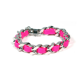 Hot Pink Woven Chain Bracelet