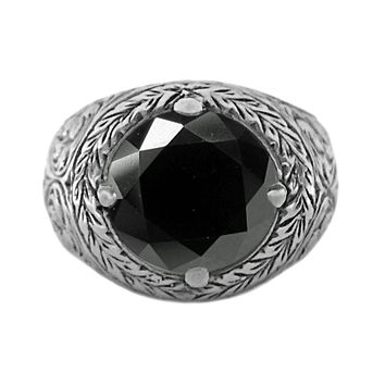 5.00ct Round Black Diamonds in 925 Sterling Silver Filigree Men's Ring