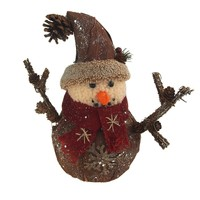 Small Tree Skin Snowman with Cap Hat Christmas Decoration, 10-Inch