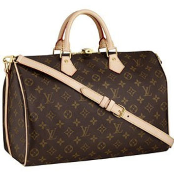 Louis Vuitton Monogram Speedy 35 with Shoulder Strap