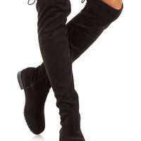 Charlotte Russe Bamboo Drawstring Over-the-Knee Boots- Black/8