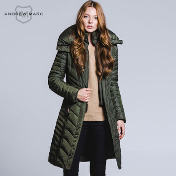 ANDREW MARC  2016 Fashion Women's Winter Jacket and Coat Grey Duck Down for Lady Long Slim Parka Autumn S M L XL  TW5AD433