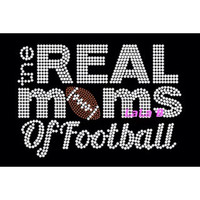 Real moms of football iron on hotfix -Rhinestone Transfer Bling Hot Fix Bling -  DIY football mom hotix heat transfer for shirts tees