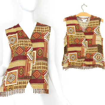 Vintage 90s Boho Beaded Fringe Vest Top - Aztec Patchwork Print Sleeveless Blouse in Red Brown Tan - Earth Tone Button Up Festival Tank Top