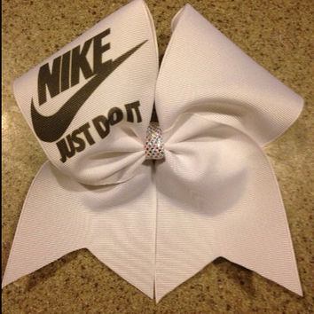 White nike just do it cheer bow