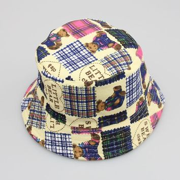 Kids Floral Sun Protection Hat Design Summer Beach Flower Canvas Boonie Fisherman Hats Bucket Hat Cap For