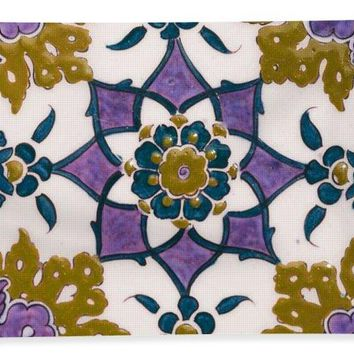 An Ottoman Iznik Style Floral Design Pottery Polychrome, By Adam Asar, No 13g - Bath Towel