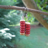 Red Wood Earrings - Handmade Jewelry