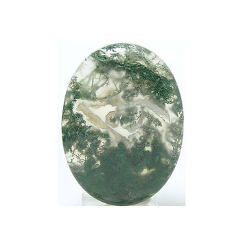 Green Moss Gem Agate Natural Stone Calibrated Cabochon 40x30 mm 60 carats