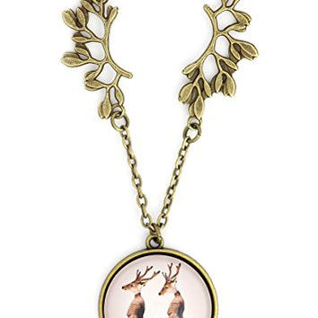 Deer Stag Monks Necklace Gold Tone NS25 Buck Antlers Priest Robes Art Pendant Fashion Jewelry