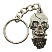 Poker Playing Skull Keychain ~ Antiqued Pewter ~ Keychain